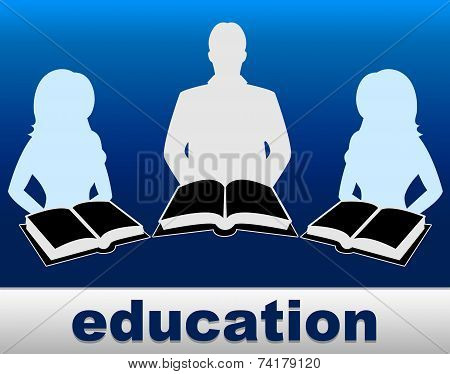 Education Books Represents Studying Development And Training
