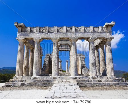 Ruins of temple on island Aegina, Greece - archaeology background