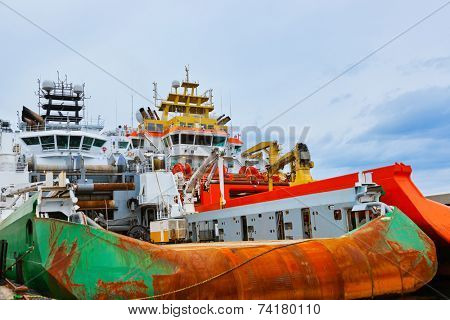 Large industrial ship in Stavanger port - Norway - transportation background