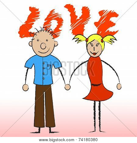 Love Couple Indicates Compassionate Devotion And Fondness