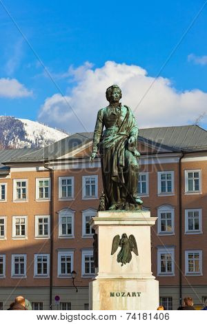 Mozart statue in Salzburg Austria - architecture background