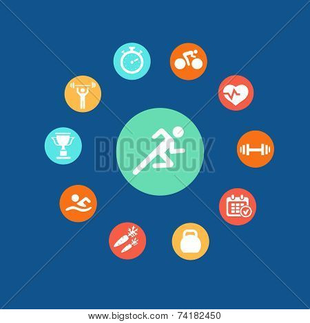 Set health and fitness circular icons. Infographics.