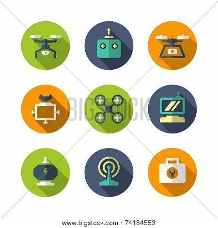 Set Flat Icons Of Quadrocopter, Hexacopter, Multicopter And Drone