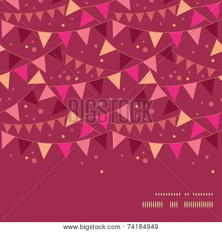 Vector christmas decorations flags horizontal frame seamless pattern background
