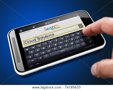 Cloud Solutions Concept in Search String on Smartphone.