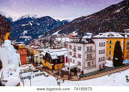 Mountains ski resort Bad Gastein Austria - nature and architecture background