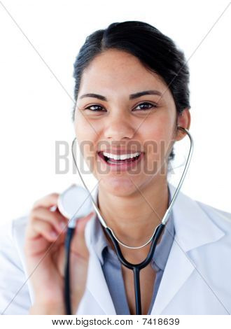 Portrait Of A Positive Doctor Holding A Stethoscope