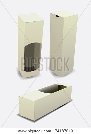 White empty package box mock-up. Vector illustration.