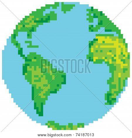 Pixel style earth