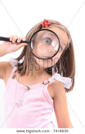 Girl And Magnify Her Face