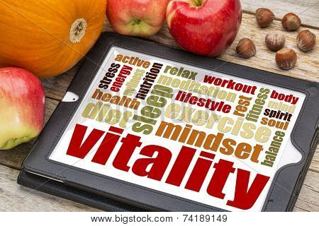 vitality or vital energy word cloud on a  digital tablet with apples, pumpkin and hazelnuts