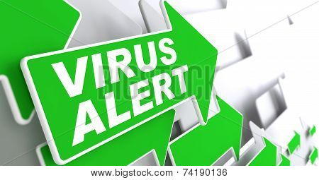 Virus Alert on Green Direction Arrow Sign.