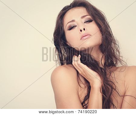 Fashion Art Portrait Of Sexual Woman With Desire Look. Closeup