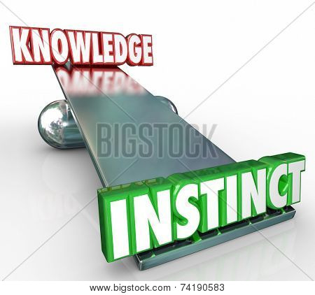 Instinct 3d word on see-saw or balance with Knowledge to show that often a gut feeling or inner voice can be a better indicator of the truth