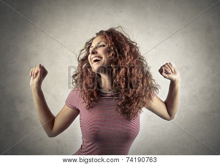 Jubilating woman