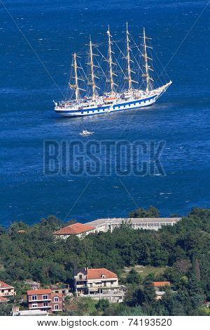 Five-masted Ship In The Bay Near The Town Of Kotor, Montenegro