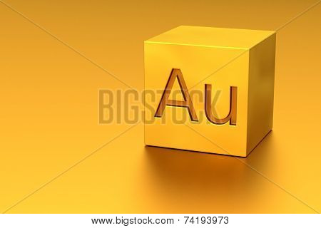 Golden Cube With Au Mark