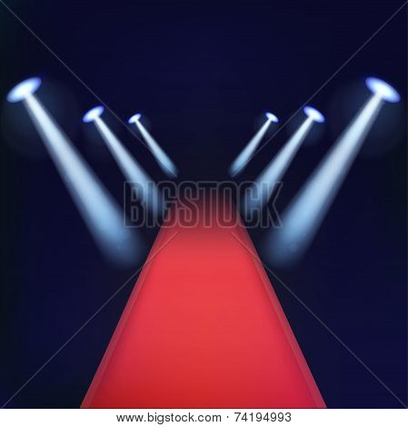Red Carpet With Spotlights.