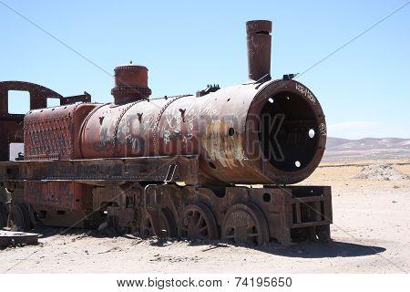 Vintage train at Train Cemetery in Bolivian desert