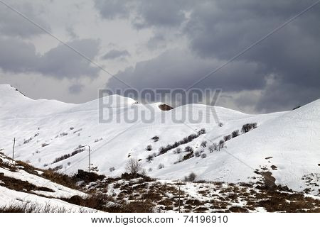 Off-piste Slope And Overcast Sky