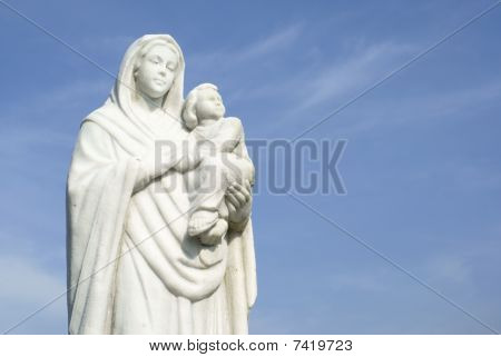 Mother Mary carry Jesus Christ statue