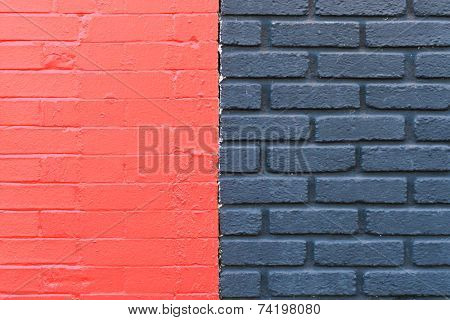 Red and black painted brick wall background