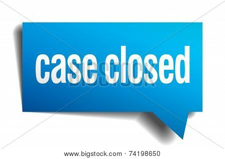 Case Closed Blue 3D Realistic Paper Speech Bubble