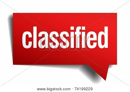 Classified Red 3D Realistic Paper Speech Bubble