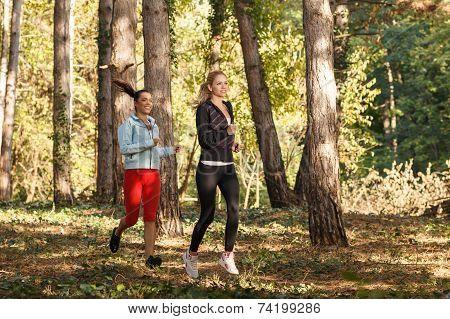 Two Beautiful Young Women  Running Through The Park