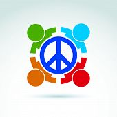picture of peace-sign  - Round antiwar vector icon - JPG