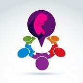 stock photo of abort  - illustration of a speech bubble and a baby embryo - JPG