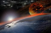 stock photo of meteors  - Incandescent celestial body nearing Earth in sunrise for apocalyptic or space backgrounds - JPG
