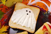 image of funny ghost  - funny sandwich with cheese ghost for halloween party - JPG
