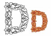 picture of uncolored  - Uppercase letter D in a floral and foliate design with flowers and entwined leaves for organic - JPG