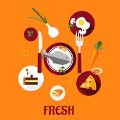 foto of flat-bread  - Fresh food flat design with a set of colorful vector icons depicting cake - JPG