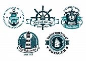 stock photo of anchor  - Nautical themed vector emblems or badges with various text depicting a ships anchor - JPG