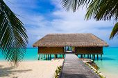 picture of kuramathi  - Spa salon on beach of tropical island  - JPG
