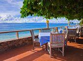 pic of kuramathi  - Cafe on tropical beach  - JPG