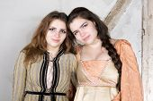 foto of wench  - two brunette young girls dressed as princess - JPG