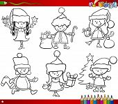stock photo of christmas theme  - Coloring Book Cartoon Illustration of Black and White Christmas Themes Set with Children in Santa Claus Costumes - JPG