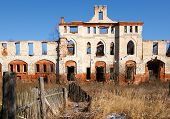 foto of manor  - Ruins of an ancient medieval manor in autumn - JPG