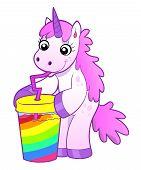 foto of unicorn  - Pink cartoon funny unicorn drinks rainbow cocktail - JPG