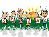 image of youngster  - Spring Kids Indicating Warmth Youngsters And Youth - JPG
