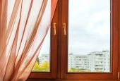 stock photo of curtain  - Window in dark brown wooden frame with double - JPG