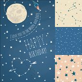 pic of starry night  - A set of Seamless constellations backgrounds - JPG