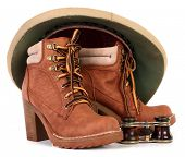 picture of sola topee  - Pith helmet and brown leather boots for adventure - JPG