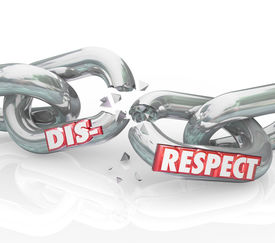 picture of disrespect  - Disrespect word on breaking chain links to show loss or separation from failing to show respect and honor to others - JPG