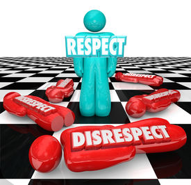 stock photo of disrespect  - Respect word in 3d letters on a single person left standing on a chessboard as competitors who showed disrespect are defeated - JPG