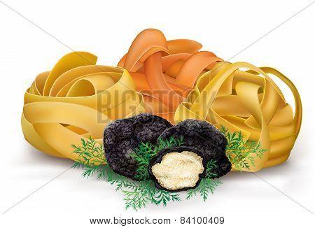 Pasta Tagliatelle And Black Truffle