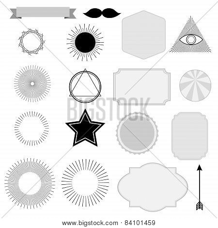 Set Of Vintage Sunburst, Symbols, Labels, Tags, Hipster Design